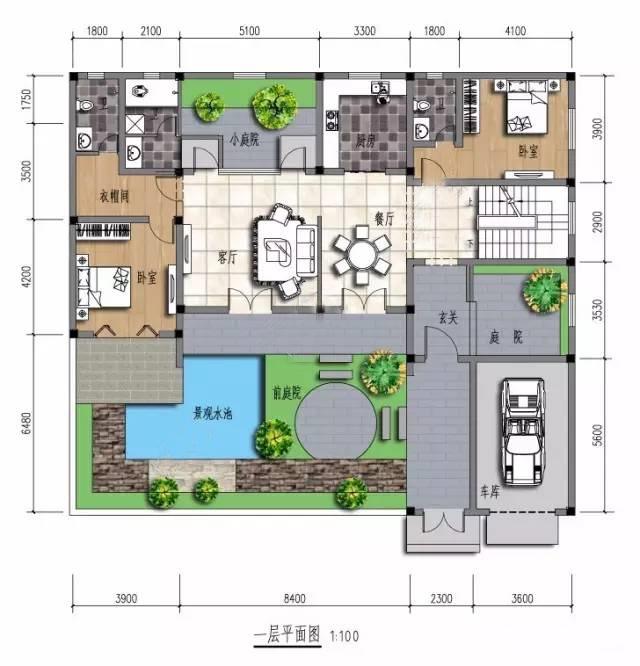 该户型基地长18.4米,宽16.1米,建筑面积304.图片