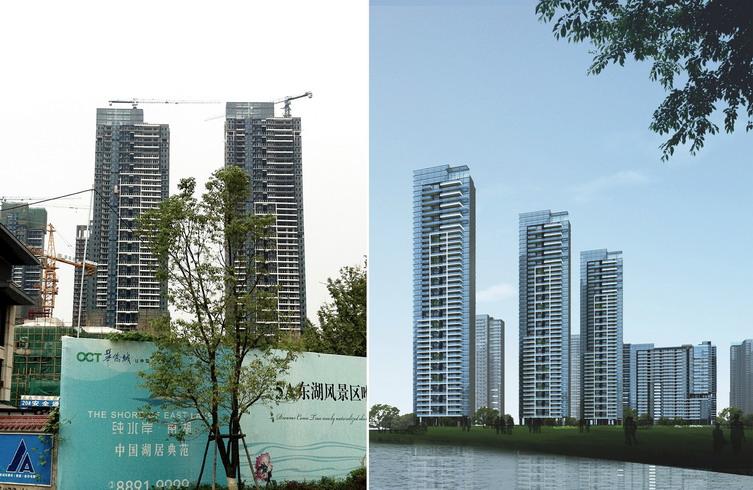 设计致力于呼应武汉的滨水文化,在丰富的自然山水的基础上,打造出简约的都市高层住宅。玻璃幕墙是典型的都市语汇,而阳台与立面的色彩组合则犹如钢琴键般充满韵律,带动出一丝优雅的艺术气息;建筑的高低错落勾勒出灵动的天际线,丰富了城市的内涵。