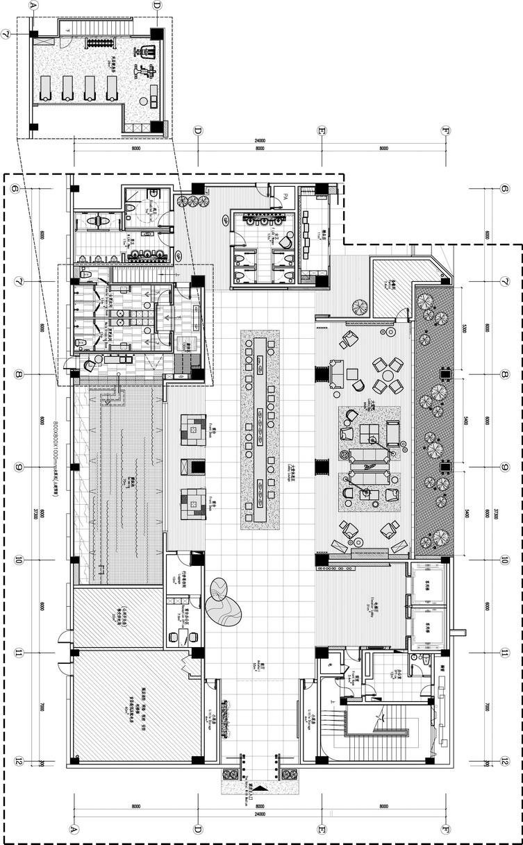 新中式办公空间设计平面图