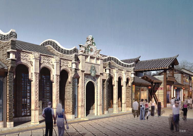 干单座建筑和门廊,围墙