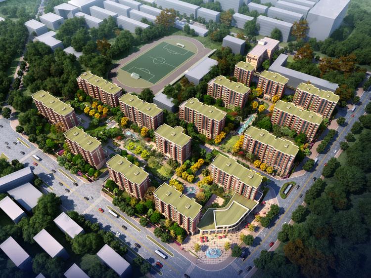 项目位于上海市长宁区,北至茅台路,南到仙霞路,东靠威宁路,西至延安中学,地块呈L 型。总用地面积56524.7 平方米,按照规划管理要求,沿中环线、仙霞路设置2070 平方米的公共绿地。地上总建筑面积87127.25 平方米,其中住宅74513.15 平方米,商业10200 平方米,公共服务设施1323.