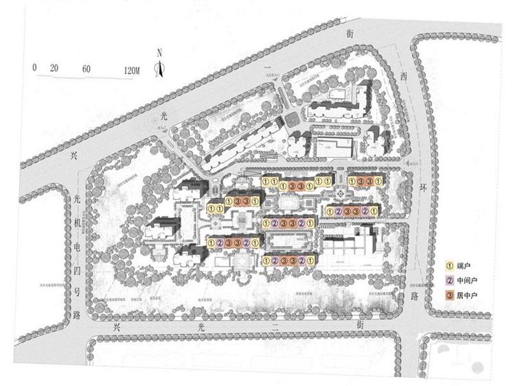 公共绿地的西侧,平面呈长方形,运用了三层中的首二层,建筑面积2000