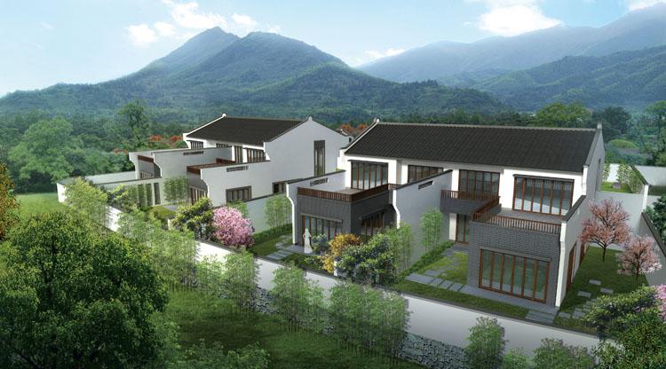 设计体现了传统的徽派民居风格,沿用古徽居枕山,环水,粉墙黛瓦的建筑