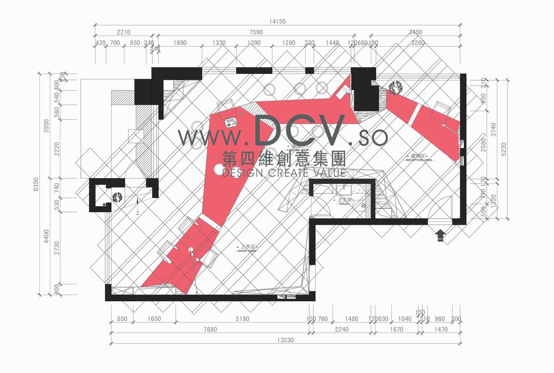 设计说明:本案为韩国李勋美发办公室,作为时尚的缔造场所,所要凸显的首先就是个性、独一无二。故此本次设计以红、白、黑三种经典色调打造前卫、新颖、简洁的现代风格。房子原结构是两间合并而成,在做空间规划之时舍去一间卫生间来扩大实用空间。斜对门口的柱子做成了LOGO墙,围绕另一间卫生间墙体做了三组流线型柜子,既隐形了卫生间墙面,也解决了柜子的摆放位置,而柜子利用镜子、灯箱进行规律性的排列之后极巧妙地拉伸了空间的层次,此创意构想不仅解决了面积较小的办公室通常会产生的压迫感,同时也为产品营造了一个极其特别的展示背景。