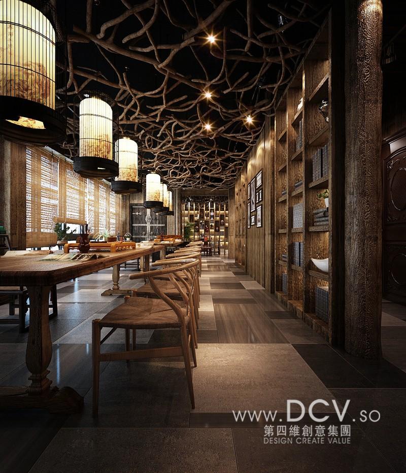 西安餐厅设计/泾阳德林茶秀会所主题餐厅室内设计