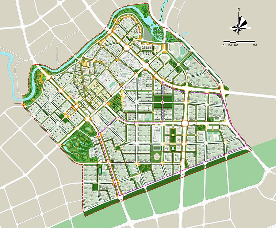 本次规划用地面积约6.83平方公里。规划范围包括龙水旧镇和新城,所以城市设计必须兼顾传统和现代的二元特性。基于城镇格局和发展前景,龙水新城规划定位为:文化复兴五金镇,全龄共生健康城。通过两心、两轴的文化空间策略,将以展示传统五金手工艺为主的古镇文化商业中心,及以五金产品研发、展销为主的新城特色商业中心串联,形成贯穿城市各文化广场和新旧城市中心的传承体验轴和文化形象轴;同时,通过打造康体游憩环线、滨水文化休闲廊道和生态游憩廊道,实现一环、两廊的生态体验策略。