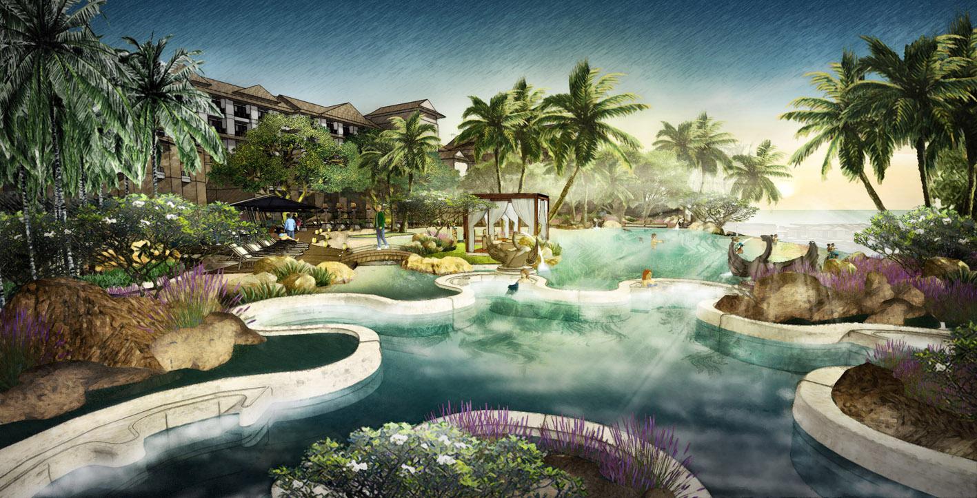 项目背景 棋子湾项目位于海南岛西线昌江县棋子湾旅游度假区范围内,西向临海,项目用地约6379亩,其中620亩建设用地用于建设三座高星级特色海景酒店及旅游配套设施、1272亩建设用地用于建设高尔夫会所、高档低密度生态度假社区及度假公寓等;其余用地为租用地,用于建设两个18洞国际高等级高尔夫球场、体育公园等。项目分三期建设,建设周期约6年,总投资约45亿。恒盛元按照海南国际旅游岛战略的高品质要求,邀请国际设计团队WATG和三尚国际(香港)有限公司总体考虑,统一规划,深入挖掘及接合昌江县域山,海,黎乡的人