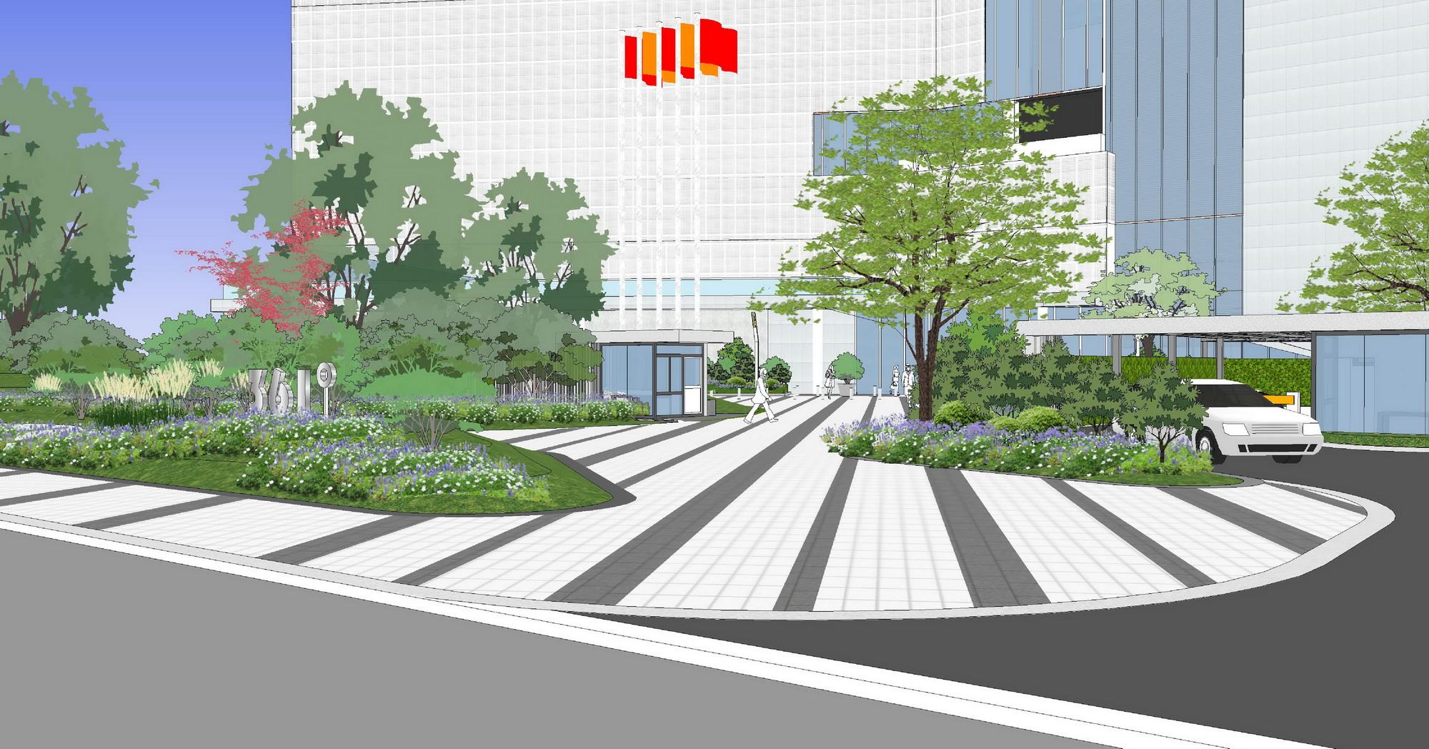 因此在设计上,摈弃以往传统硬质围墙的空间割裂,全部采用绿植的组合图片