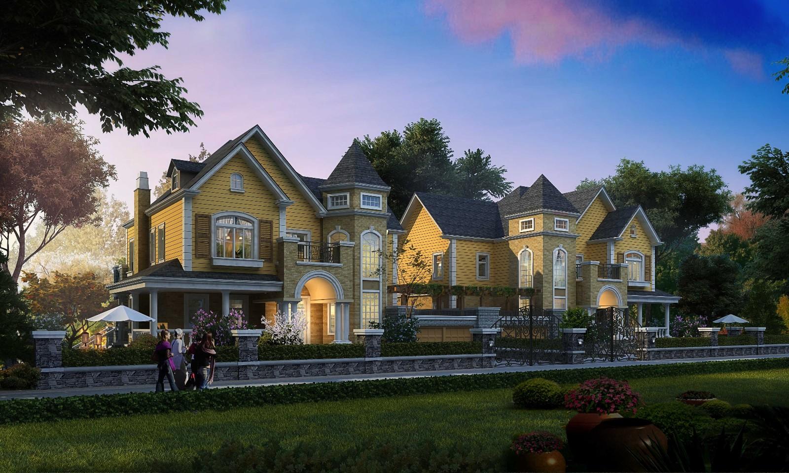 (大窗,阁楼,四坡屋顶,丰富的色彩和流畅的线条,北美风情原味呈现,为