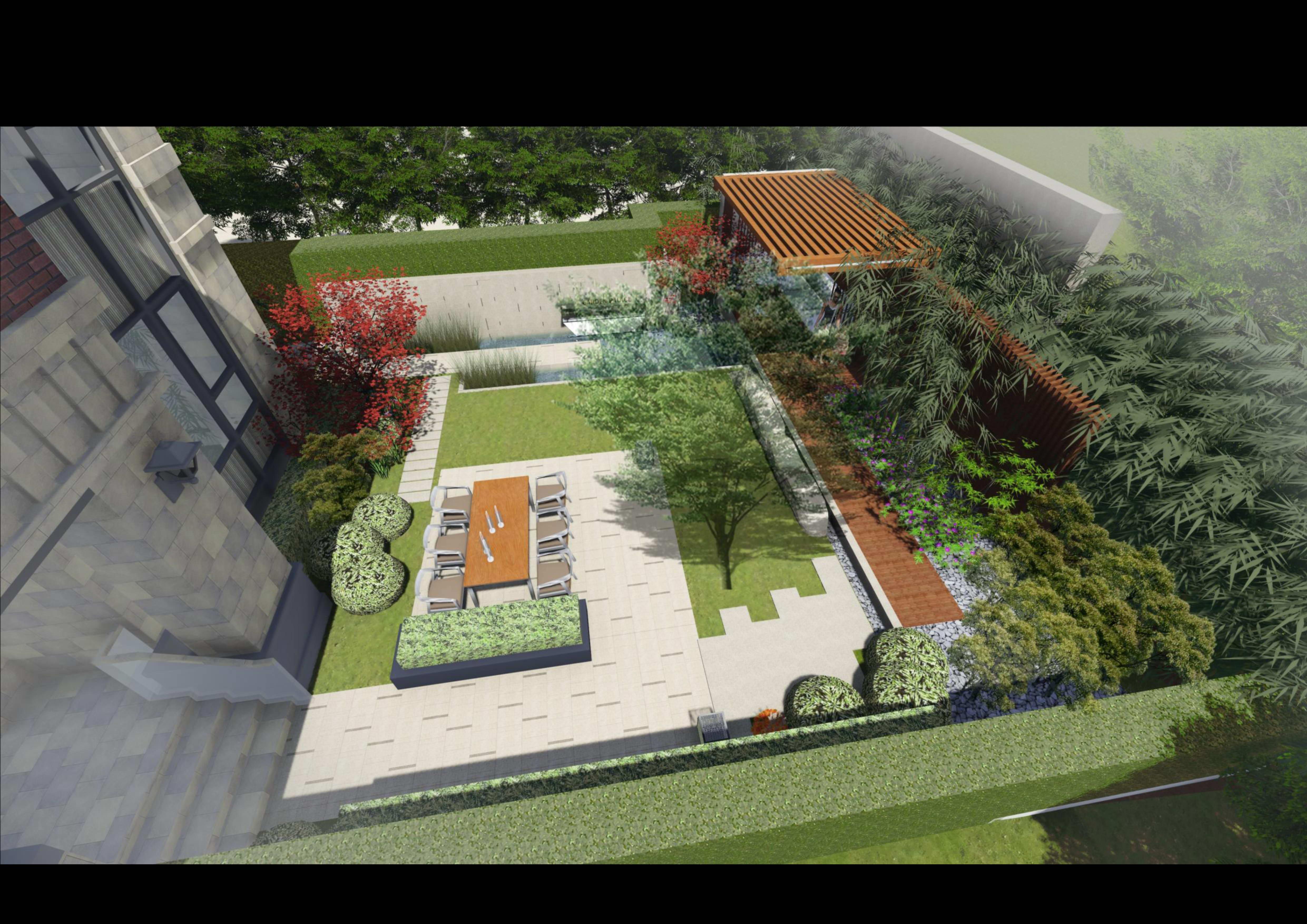 万年园博府双拼别墅小院景观设计