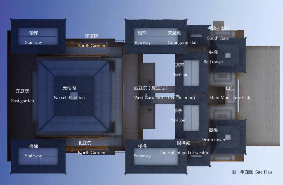 总平面图 整个规划延续古佛寺传统的寺院格局,利用珍珠岭东高西低的地形,创造具有佛教禅意景观庭院的院墙空间,创新传承宜昌民居四水归堂的传统合院空间布局。采用凤凰橙的建筑色彩结合楚国宫殿式大屋顶风格的现代绿色节能形式。内外有别的管理模式,按照全天候开放、半开放、全封闭三种管理空间进行规划设计。风、光、雨水收集、中水循环利用。