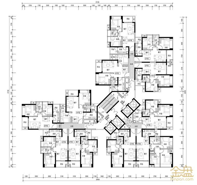 2#楼标准层平面图.jpg