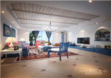 西安住宅设计/河南洛阳升龙广场住宅地中海样板间设计
