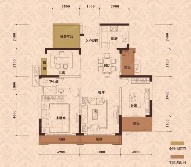 116平米3+1房2厅4阳台,4室2厅1卫,(N+1百变户型空间,自由组合 南向三面采光 带入户花园设计 34平米双厅设计).jpg