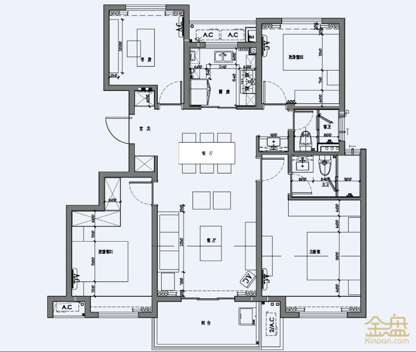 悦都荟2.2期项目-124户型标准层