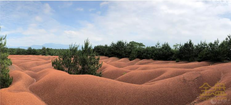 """植被稀疏、沟壑纵横的""""红色荒漠"""".jpg"""